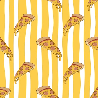 Seamless pattern of tasty melted pizza with colored doodle style