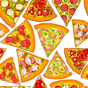 Seamless pattern tasty pizza slices.