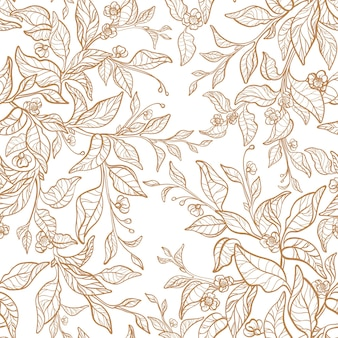 Seamless pattern tea linear twig golden leaves floral graphic garden vintage wedding print