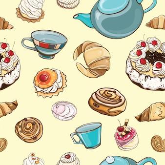 シームレスパターン「お茶の時間」。ペストリー、お菓子、お茶、カップ、ケーキ、マシュマロとカラフルな背景。