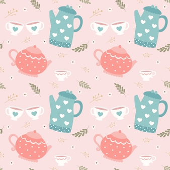 Seamless pattern teapot and cup