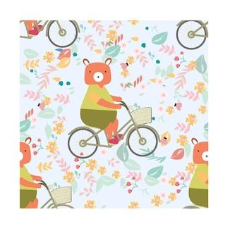 Seamless pattern teddy bear ride bicycle in flower garden