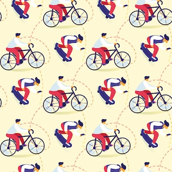 Seamless pattern of teenagers bicycle riding, skateboarding active lifestyle
