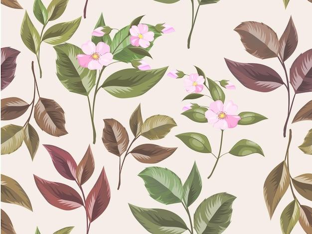 花と葉を持つファッションと壁紙のシームレスなパターンテンプレート