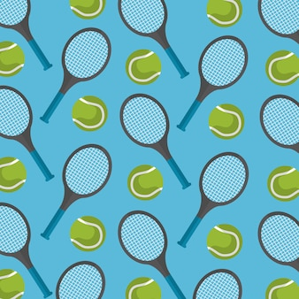 Seamless pattern tennis ball and racket