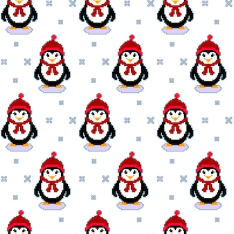 Seamless pattern texture with pixel art penguins