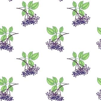 シームレスパターン。葉と白い背景のニワトコの果実の枝。包装、紙、壁紙、生地、繊維、ラッピングのイラスト。