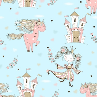 Seamless pattern on the theme of fairyland. the princess and the unicorn.