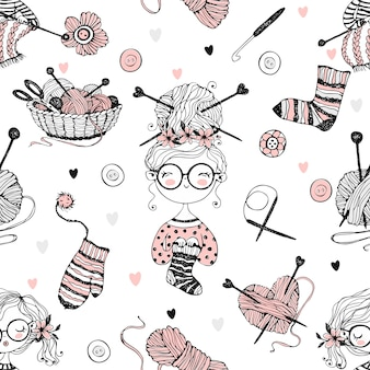 Seamless pattern on the theme of knitting with cute knitter girls in doodle style.