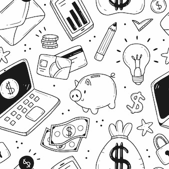 Seamless pattern on the theme of money and finance in a simple black and white doodle style