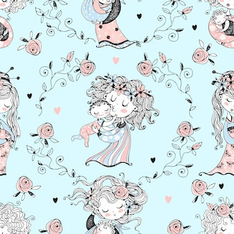 .seamless pattern on the theme of motherhood. the mother and child. baby shower. vector.