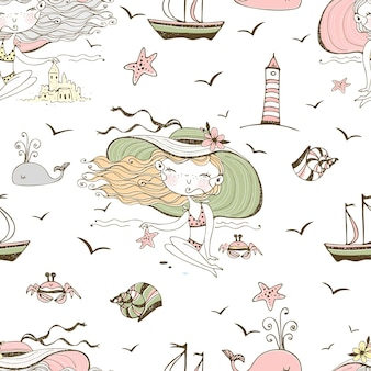 Seamless pattern on the theme of summer and the sea with cute girls on the beach. vector.