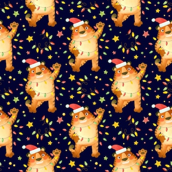 Бесшовный узор тигр в новогодней шапке с гирляндами символ нового 2022 года