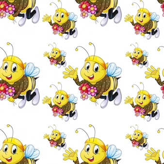 Seamless pattern tile cartoon with bee