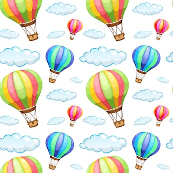 Seamless pattern tile cartoon with hot air balloons