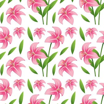 Seamless pattern tile cartoon with lilly flower
