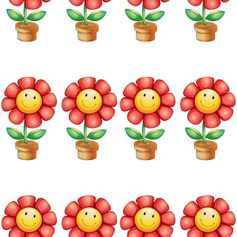 Seamless pattern tile cartoon with toy flower pot