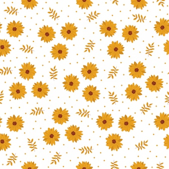 Seamless pattern tile cartoon with yellow flower