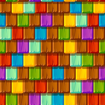 Seamless pattern of tiled old multicolored wooden roofs.