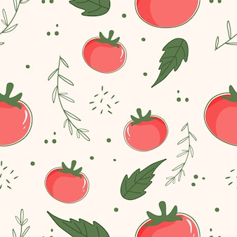 Seamless pattern tomato, leaf and herbs