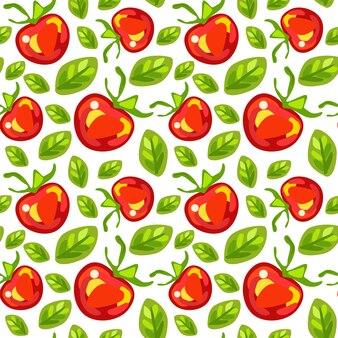 Seamless pattern of tomatoes