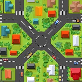 通りの交差点の上からのシームレスなパターンの上面図