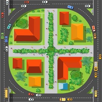 交差点の上からのシームレスパターン上面図