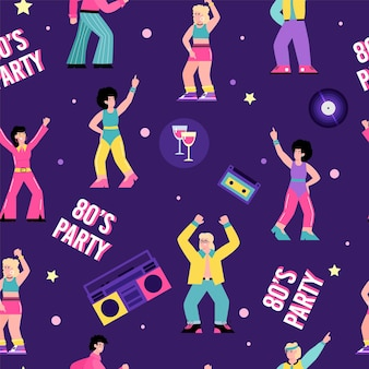 Seamless pattern on topic of s disco party flat cartoon vector illustration