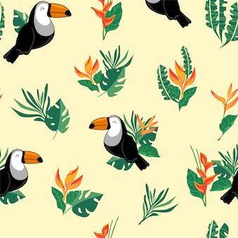 シームレスパターンオオハシ鳥。エキゾチックな鳥の背景。