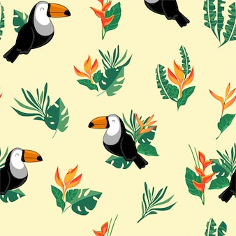 Seamless pattern toucan bird. exotic bird background.