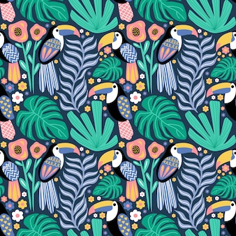 Seamless pattern toucan bird tropical plant monstera flower