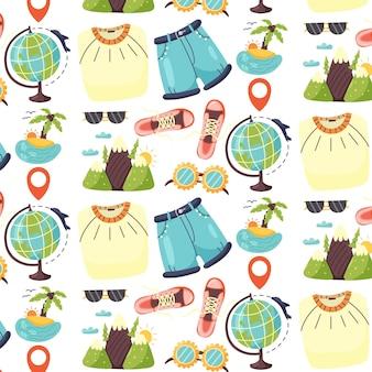 Seamless pattern tourist clothes island mountains