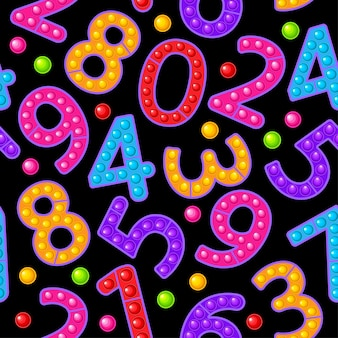 Seamless pattern toy numbers on a black background