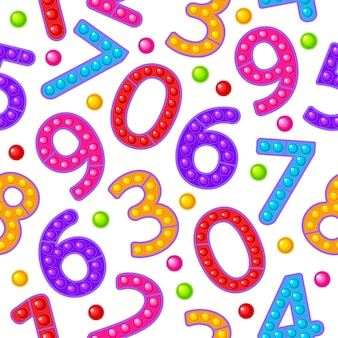 Seamless pattern toy numbers colorful sensory antistress toy for fidget pop it