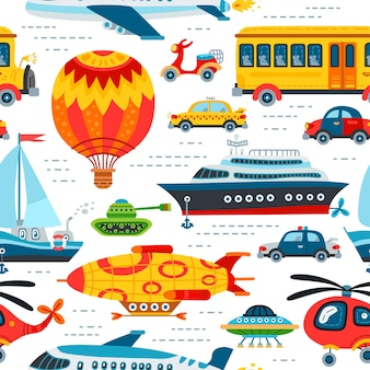 Seamless pattern toy transport background for baby boy. cute children design