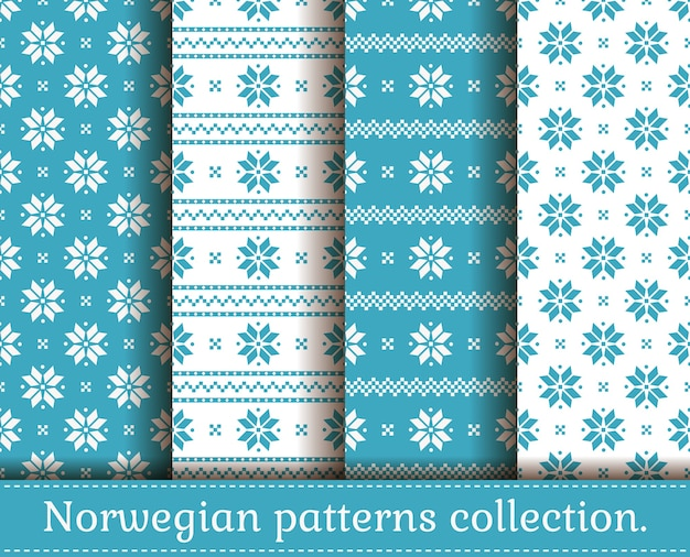 Seamless pattern in traditional norwegian style. set of christmas and winter patterns in light blue and white colors.