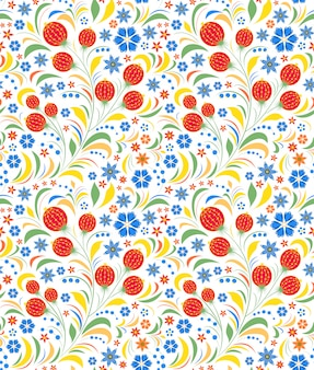 Seamless pattern traditional russian floral ornament