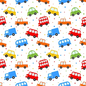 Seamless pattern transport cute car