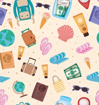Seamless pattern of travel elements