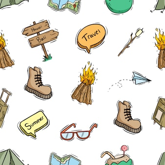 Seamless pattern of travel icons or elements with hand drawn style