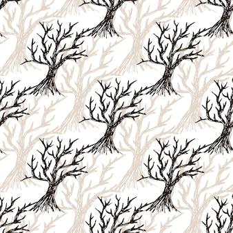 葉なしのシームレスなパターンツリー。ハロウィーンの秋の背景や冬の背景