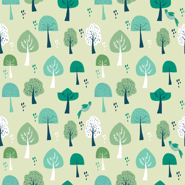 Seamless pattern of trees forest