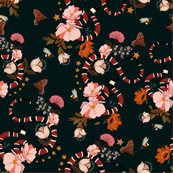 Seamless pattern ,trendy snake with flowers design vector