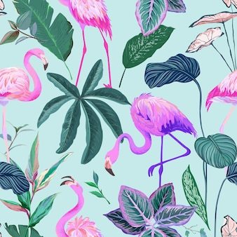 Seamless pattern, tropical background with flamingo and palm leaves. rainforest plants wallpaper, nature textile ornament. exotic tropic wrapping paper, fabric or apparel print. vector illustration