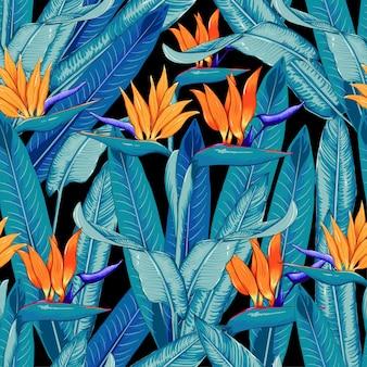 Seamless pattern tropical beautiful flowers background.