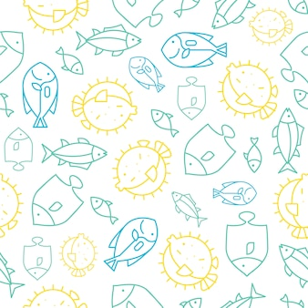 Seamless pattern tropical fish outline