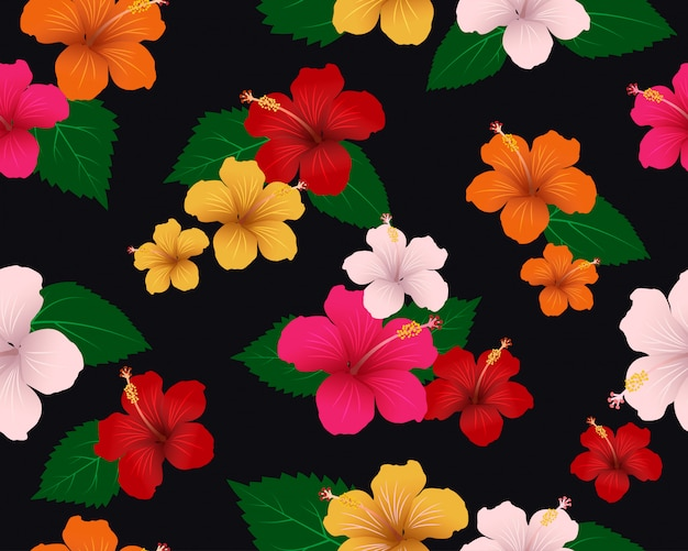 Seamless pattern of tropical flora with hibiscus flowers