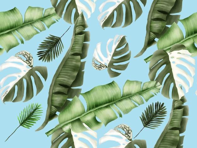 Бесшовный узор из тропических цветочных летних