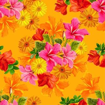 色brillanteスタイルのシームレスパターン熱帯花