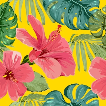 Seamless pattern tropical flower with leaves